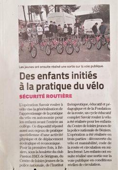 Article Savoir Rouler à Vélo ML - octobre 2020